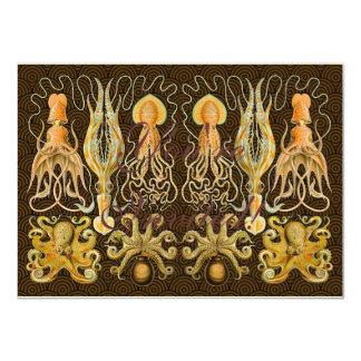 Vintage Octopus Krakken Artwork Painting Card