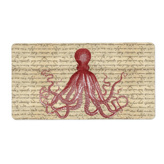 Vintage octopus personalized shipping label