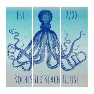 Vintage Octopus Lord Bodner Blue Nautical   Custom Triptych