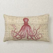 Vintage octopus lumbar pillow