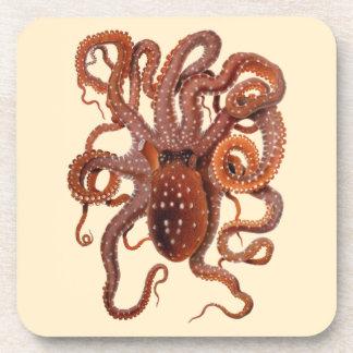 Vintage Octopus Macropus, Marine Aquatic Animals Coasters