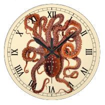 Vintage Octopus Macropus, Marine Aquatic Animals Large Clock