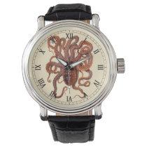 Vintage Octopus Macropus, Marine Aquatic Animals Wrist Watch