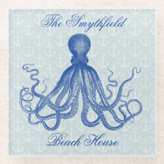Vintage Octopus Nautical Beach House Blue Anchors Glass Coaster