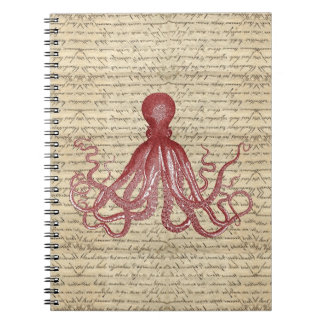 Vintage octopus spiral notebook