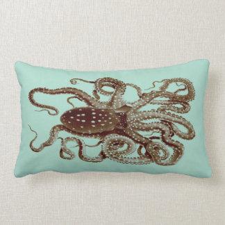 vintage octopus pillow-  blue and brown lumbar pillow