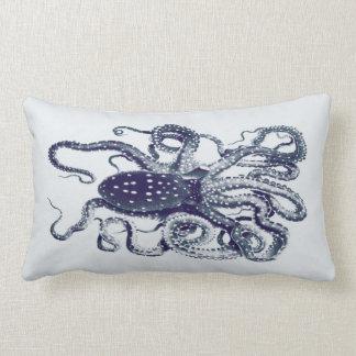 vintage octopus pillow-inky blue lumbar pillow