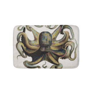 Vintage Octopus Print Bath Mat