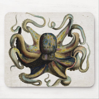 Vintage Octopus Print Mouse Pad