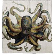 Vintage Octopus Print Shower Curtain