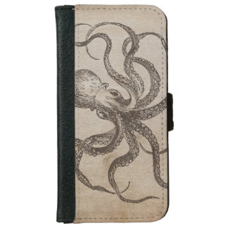 Vintage Octopus Sea Animals Aquatic Life Old Paper iPhone 6/6s Wallet Case
