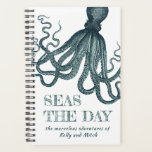 "Vintage Octopus Seas the Day Funny Nautical Planner<br><div class=""desc"">Witty and fun, this vintage nautical design features a teal blue octopus with long tentacles over matching ""SEAS THE DAY"" text and personalized with your desired name(s). What a nice way to record your every day adventures, appointments, reminders, and stops along the way of your many adventures. This nautical planner...</div>"