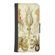 Vintage Octopus Squid Gamochonia By Ernst Haeckel Iphone Se/5/5s Wallet Case at Zazzle