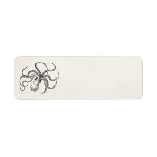 Vintage Octopus Template on Antique Paper Label