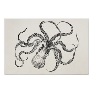 Vintage Octopus Template on Antique Paper Poster