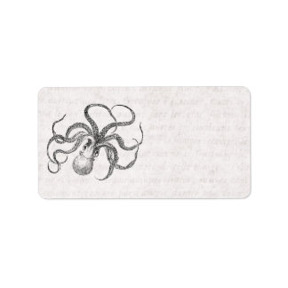 Vintage Octopus Template with Antique Text Address Label