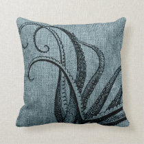 Vintage Octopus Tentacles Black Blue Grey Throw Pillow