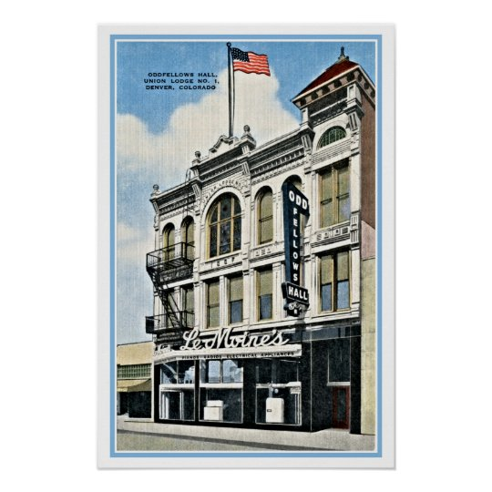 Vintage Oddfellows Hall, Denver, Co Poster