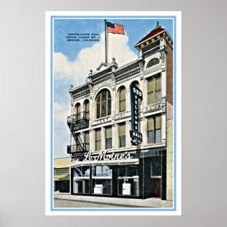 Vintage Oddfellows Pasillo, Denver, Co Poster