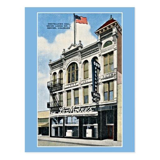 Vintage Oddfellows Pasillo, Denver, Co Postal