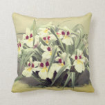 Vintage odontoglossum orchid throw pillow