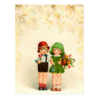 Vintage of two children and flowers postcard