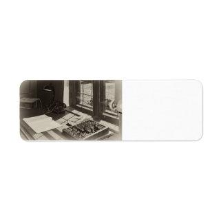 Vintage office interior custom return address label
