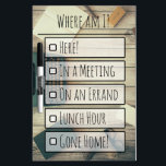"""Vintage Office Where Am I? Dry Erase Board<br><div class=""""desc"""">Let them find you and have fun with this vintage office themed &quot;Where am I?&quot; message board. Perfect for the workplace, you can use it in a dorm room or at home as well, just personalize it with your favorite hangouts and activities. You can delete a line to leave a...</div>"""