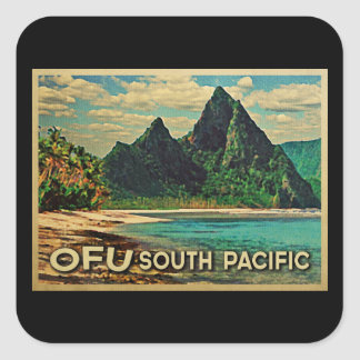 Vintage Ofu South Pacific Pegatinas Cuadradases
