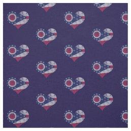 Vintage Ohio Flag Hearts Fabric