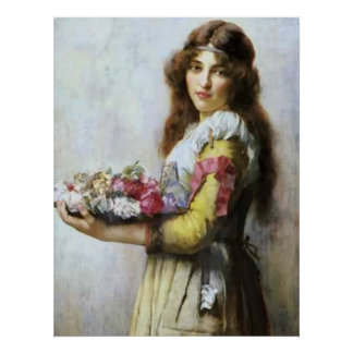 Vintage Oil painting of Young Lady with flowers. Poster