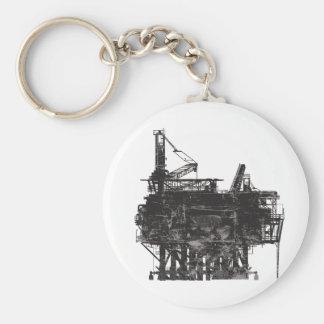 Vintage Oil Rig Basic Round Button Keychain