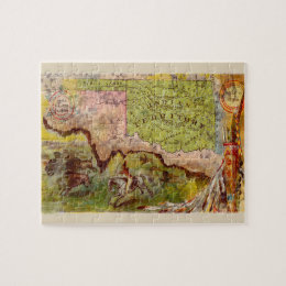 Vintage Oklahoma Pictorial Indian Territory Map Jigsaw Puzzle