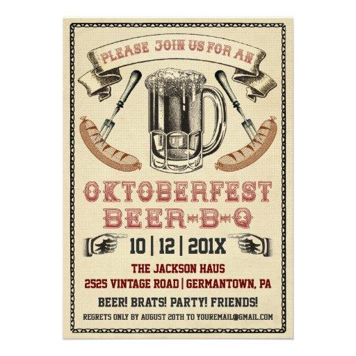 Vintage Oktoberfest Beer-B-Q Party Invitation