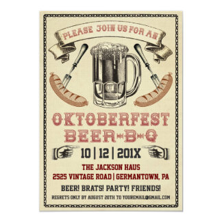 Vintage Oktoberfest Beer-B-Q Party Invitation