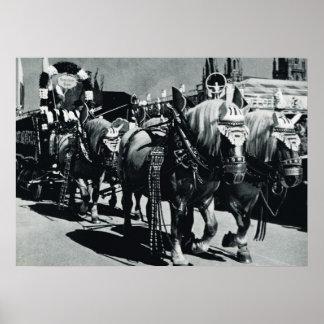 Vintage Oktoberfest Munich caballos de la cervec Posters