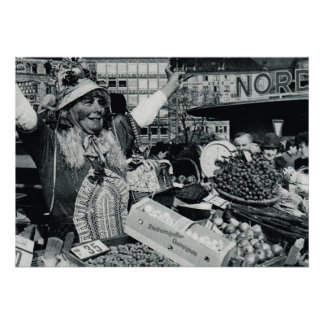 Vintage Oktoberfest, Munich, Market fruit vendor Poster