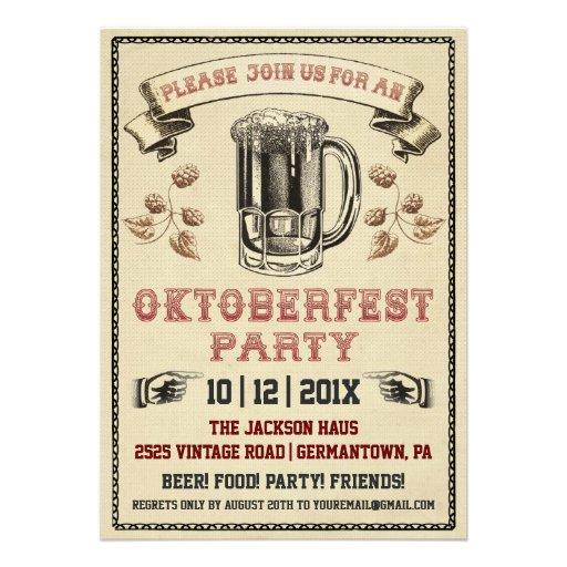 Vintage Oktoberfest Party Invitation (front side)