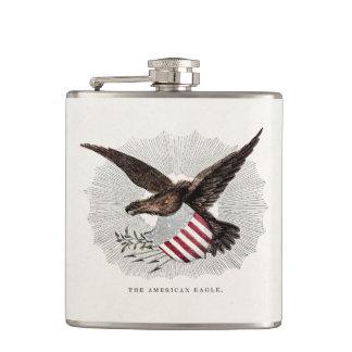 Vintage Old 1800s American Eagle Bird Illustration Flasks