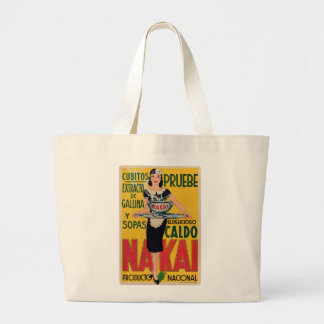 Vintage Old announcement Soups and Broths Large Tote Bag