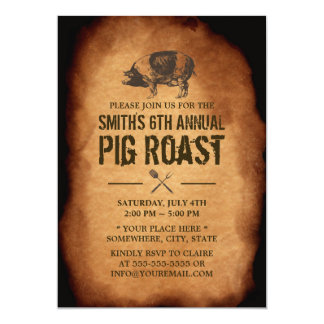 Vintage Old Annual Pig Roast BBQ Party Invitations
