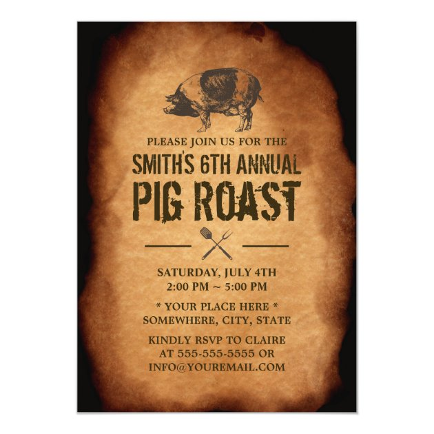 Vintage Old Annual Pig Roast BBQ Party Invitations | Zazzle