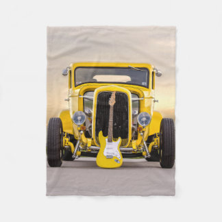 Vintage Old Antique Yellow Hot Rod and Guitar Fleece Blanket