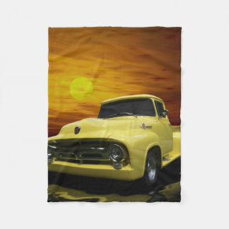 Vintage Old Antique Yellow Truck Fleece Blanket