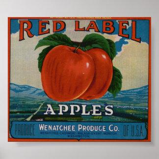 Vintage Old Apple Fruit Crate Labels Poster