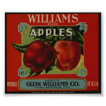 Vintage Old Apple Fruit Crate Labels Poster