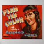 Vintage Old Apple Indian Fruit Crate Labels Poster