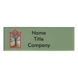 Vintage Old Apple Tree in Meadow Red Frame Name Tag
