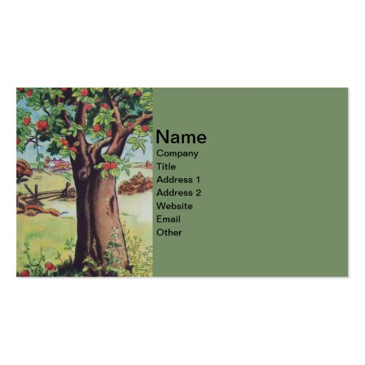 Vintage Old Apple Tree Meadow Field Business Card Templates
