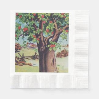 Vintage Old Apple Tree Meadow Field Paper Napkin